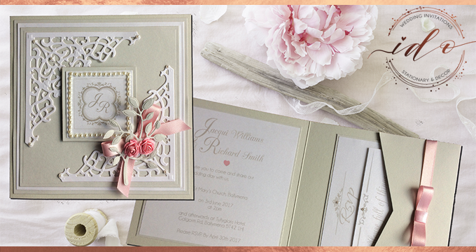 Elegant pink and grey Wedding Invitation