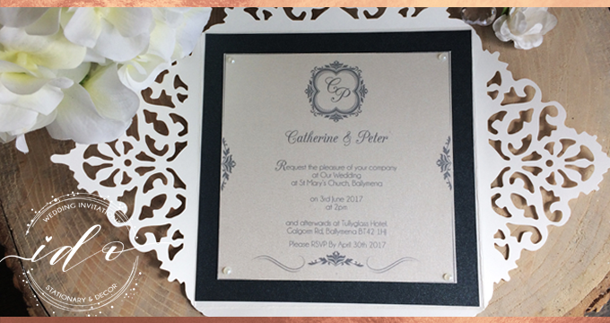 Navy and White Elegant cut Wedding Invitation
