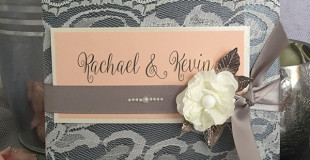 Peach & Grey themed Wedding Invitations