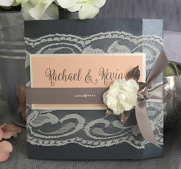 Peach & Grey Wedding Invitations