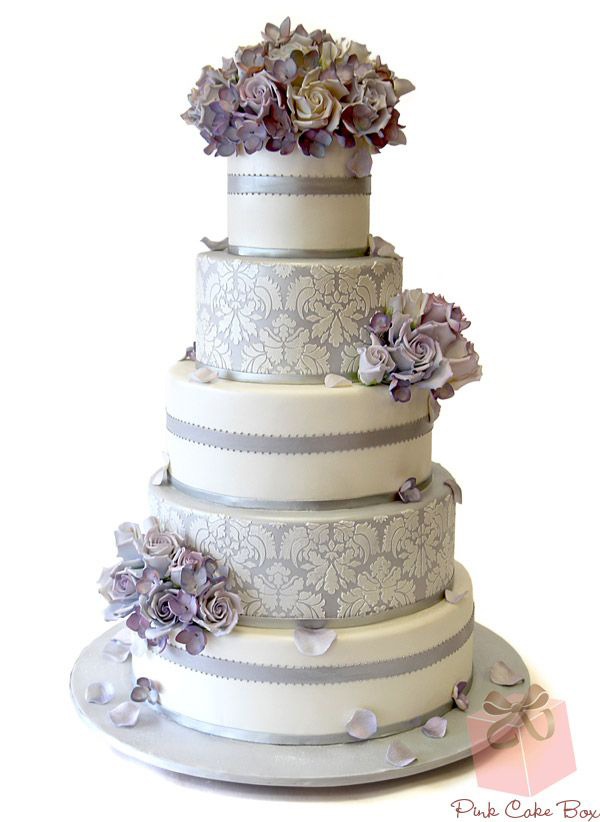 Lilac and Grey Wedding Cake