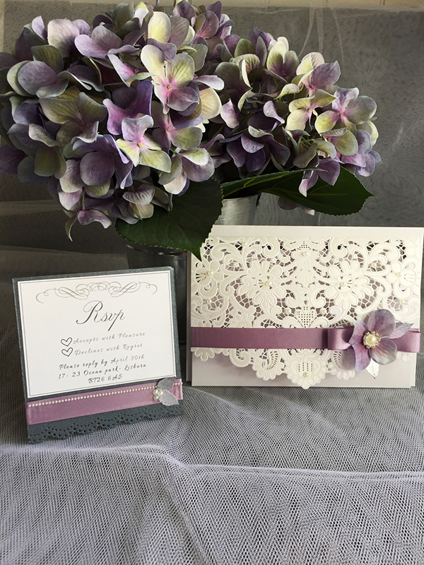 Lilac and Grey Wedding Invitations