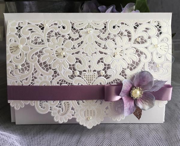 Lilac and Grey Wedding Invitations