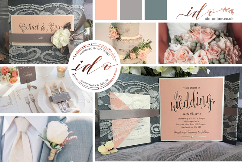 Peach Grey spring themed Wedding