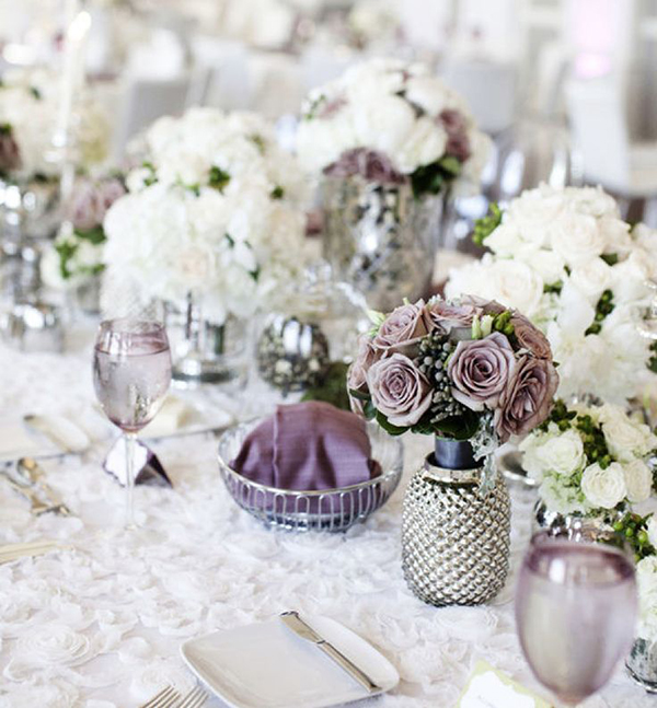 Lilac and grey table accessories