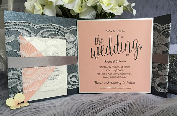 Peach and Grey Wedding Invitations