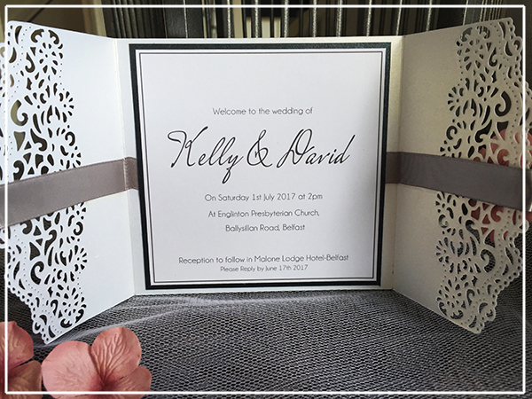 Pink and Grey Hydrangea wedding Invitations