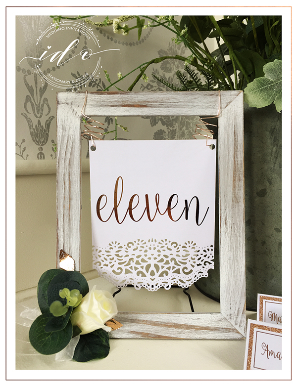 Rose gold Wedding! Hanging Table number.