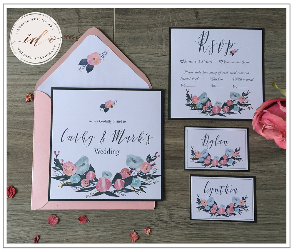 Watercolour floral Invitation package