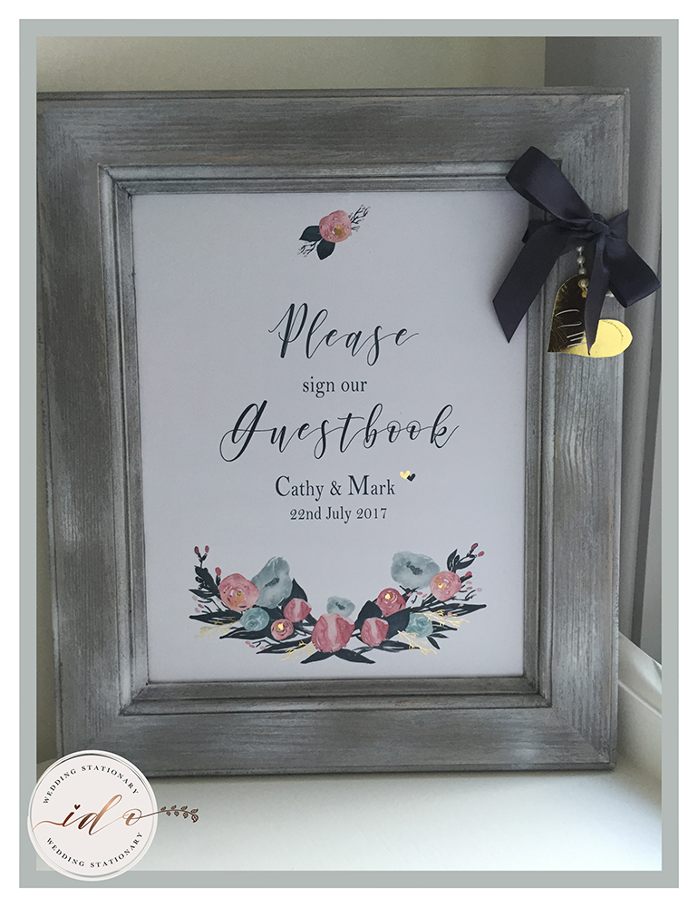 Watercolour floral Personalised Framed Print