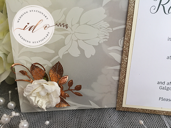 Ivory & Copper Vellum pocket Invitation