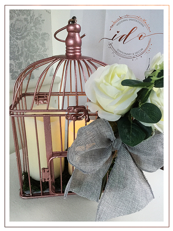 Rose gold wedding-Up-cycled birdcage