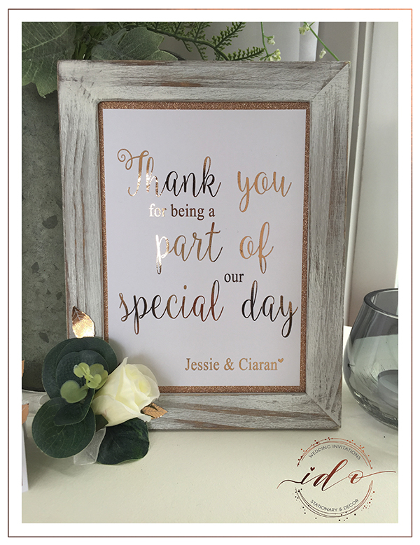 Rose gold Wedding! Thank you Frame.