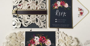 Navy Watercolour Floral Wedding Invitation Suite.