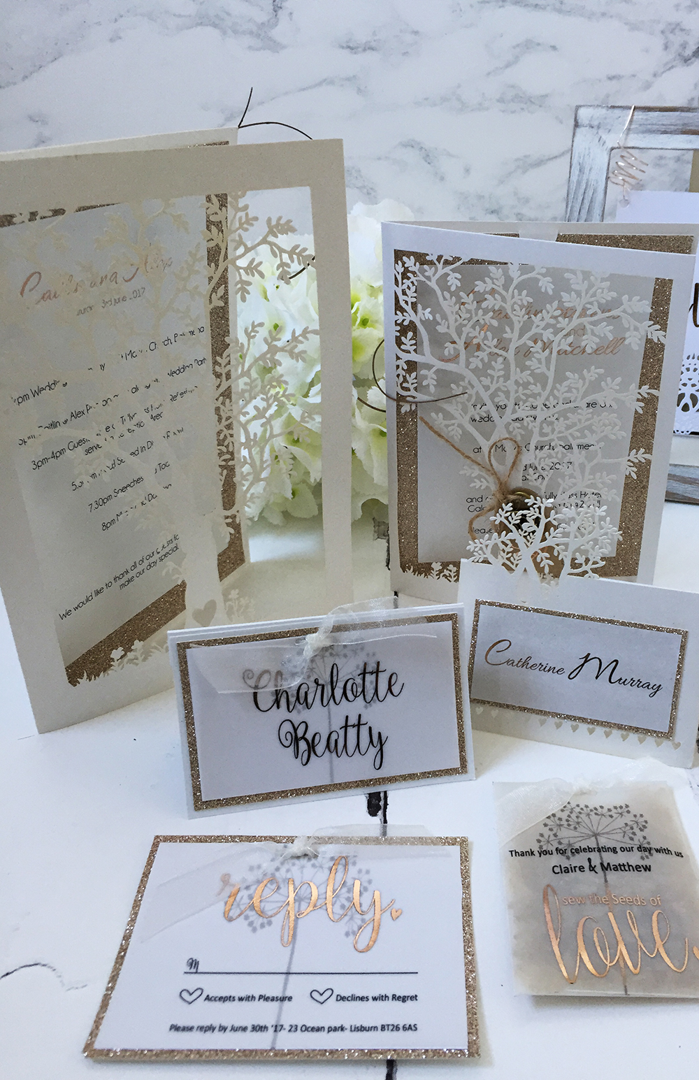 Laser cut Tree Invitation Suite