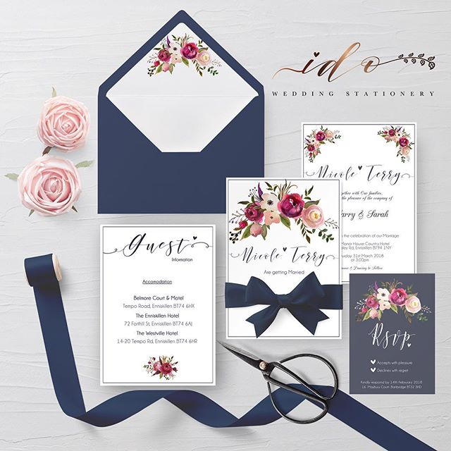Navy floral Wedding Invitation Suite. Gorgeous deep red and pink florals to compliment the rich navy. 5×7 Invitation, guest information card, C6 RSVP, co-ordinating envelope liner. table plan, name cards and table numbers were made to match
