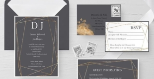"Charcoal Grey and Gold Dust Wedding Invitation suite. Minimalistic gold geometric design. Simple but elegant. This set came in a 5""x7"" pocket folder in charcoal grey with matching belly band. Invitation ,RSVP, guest information, Wishing Well card"