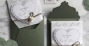 Have you set a Date?? Then you'll be needing these Cute but elegant Save the Date Fridge Magnet Cards. Die cut lace edged heart, Attached to Printed Vellum and 300gsm white card.  8cm x 8cm total size, Finished with Sage green twine and an Ivory rose. Sage green Co-Ordinating Envelopes