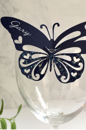 Wedding Invitations Butterfly wine glass Name card