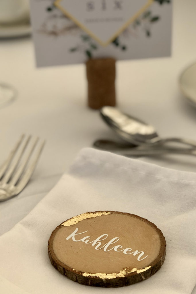 Guest name on wood slice with gold leaf2