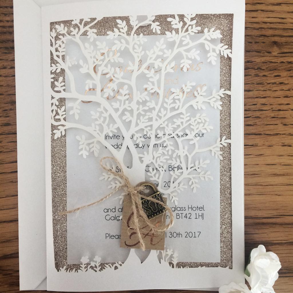 Laser cut Tree design Invitation Suite