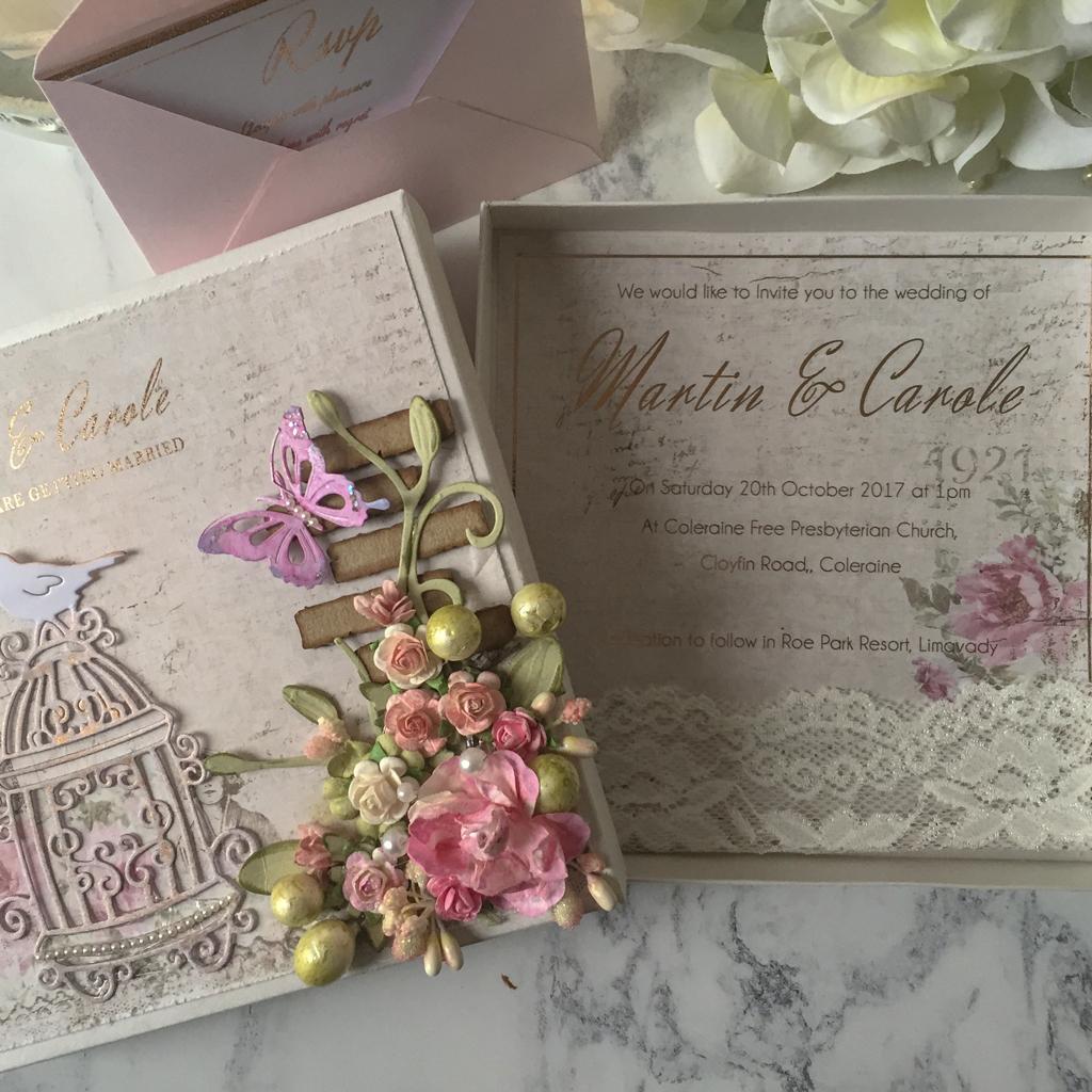 Carole Vintage box Wedding Invitation