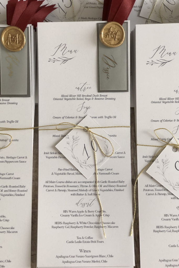 Guest Name on Menu with Wax Seal