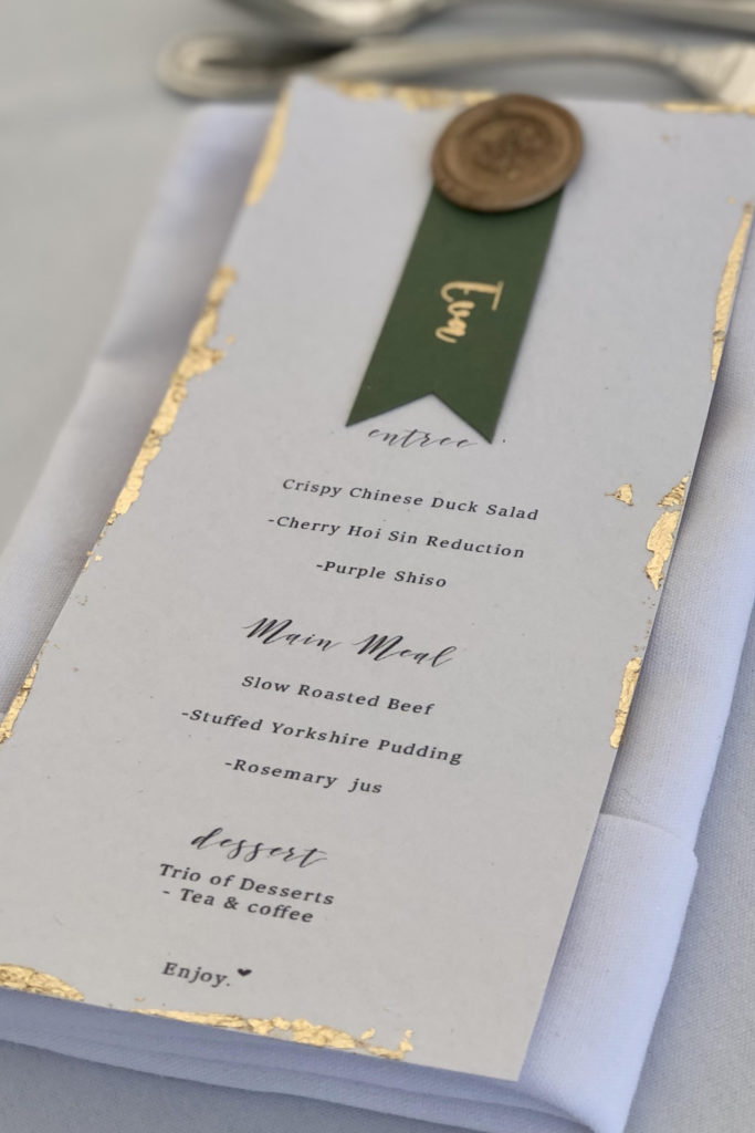 Guest Name on Menu with gold leaf