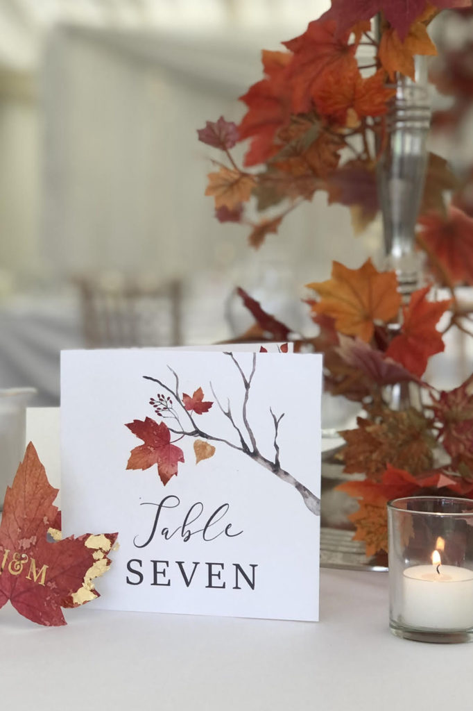 Autumn themed Table Number
