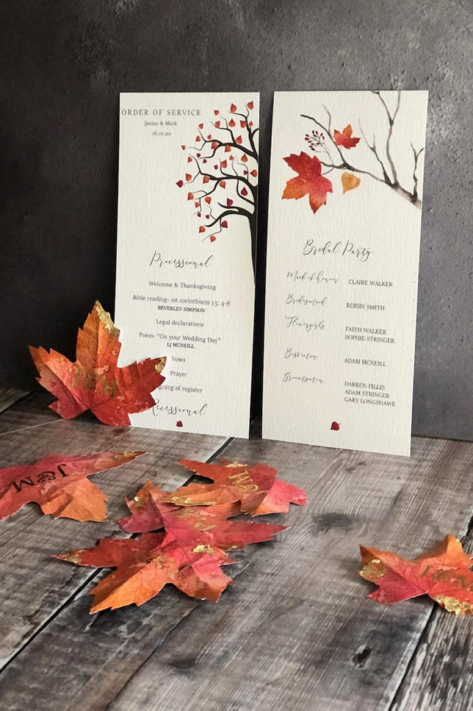 Autumn Themed Order of service