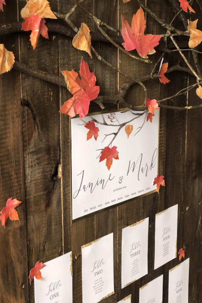 Autumn Themed Wedding Table Plan