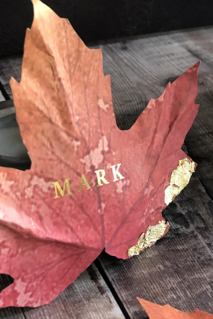 Autumn Theme guest name on leaf