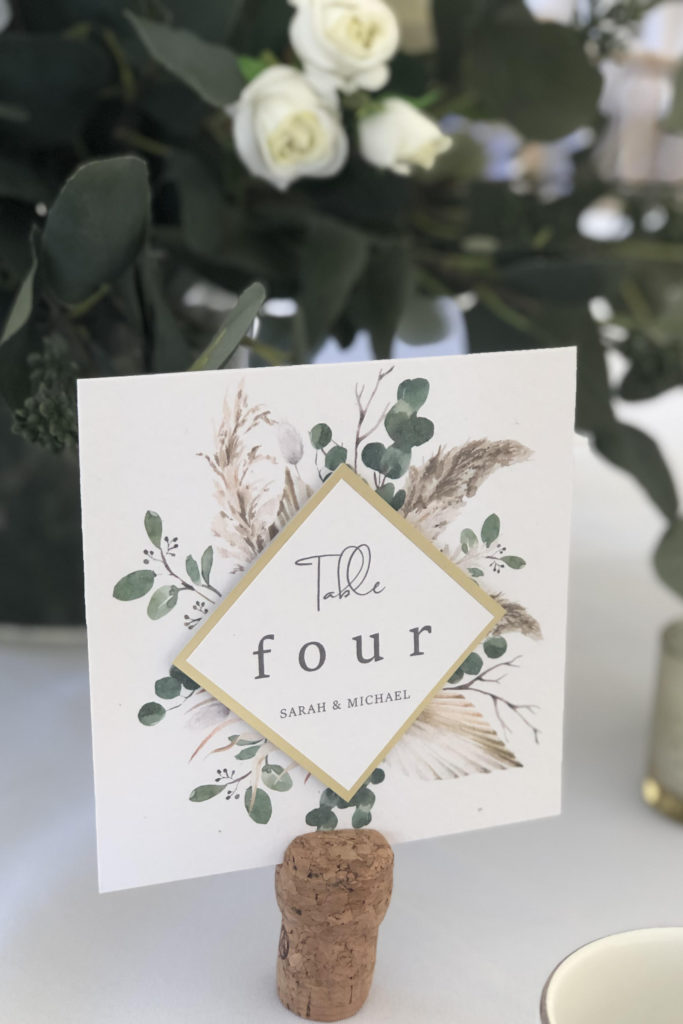 Boho Style Pampas Table number with gold