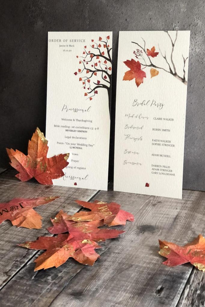 Autumn Themed Wedding Menu