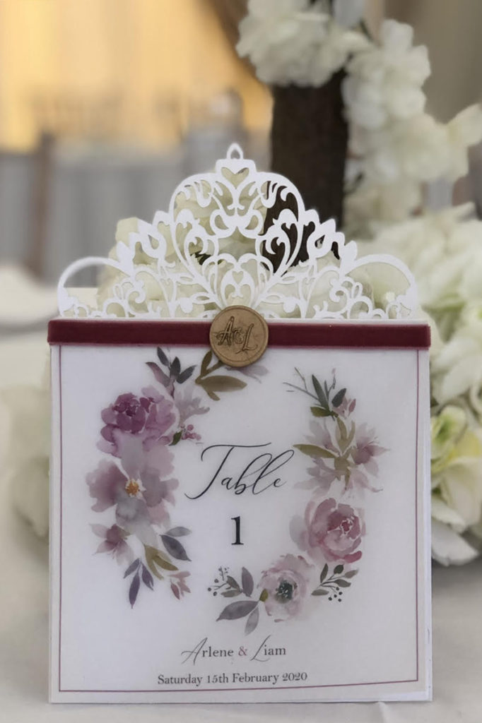 Lace & Vellum Table Number