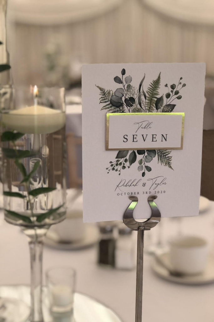 Foliage & Gold Table Number