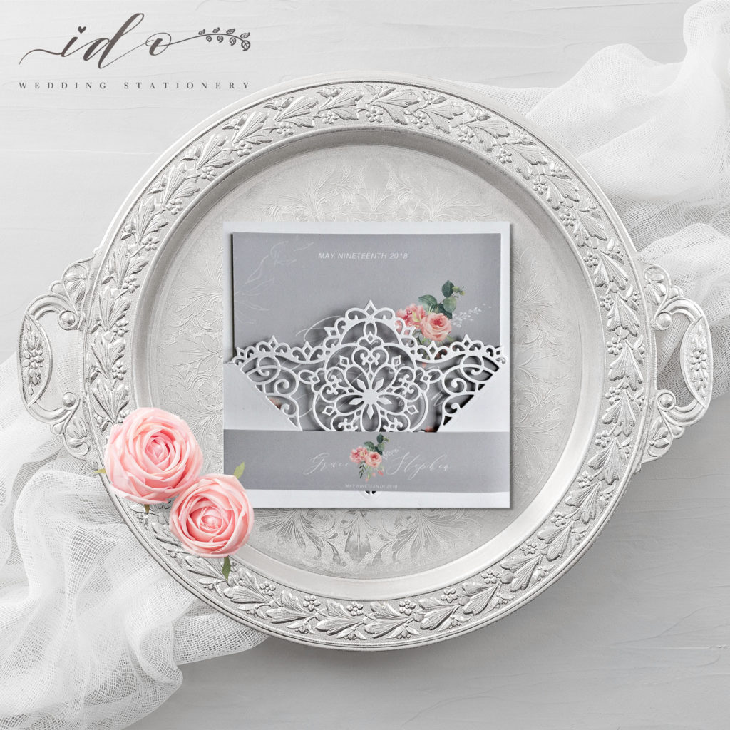 Grace-Pink Roses Invitation Suite
