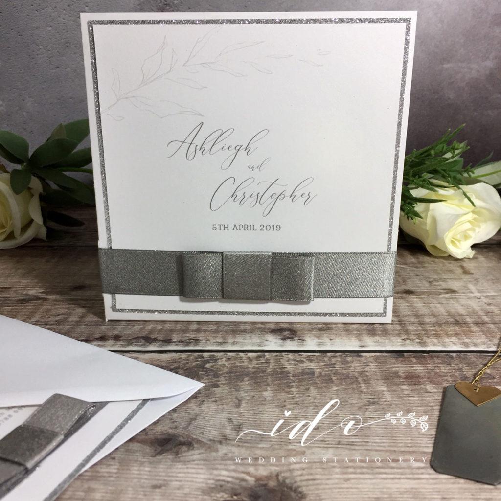 White & Silver Wedding Invitation