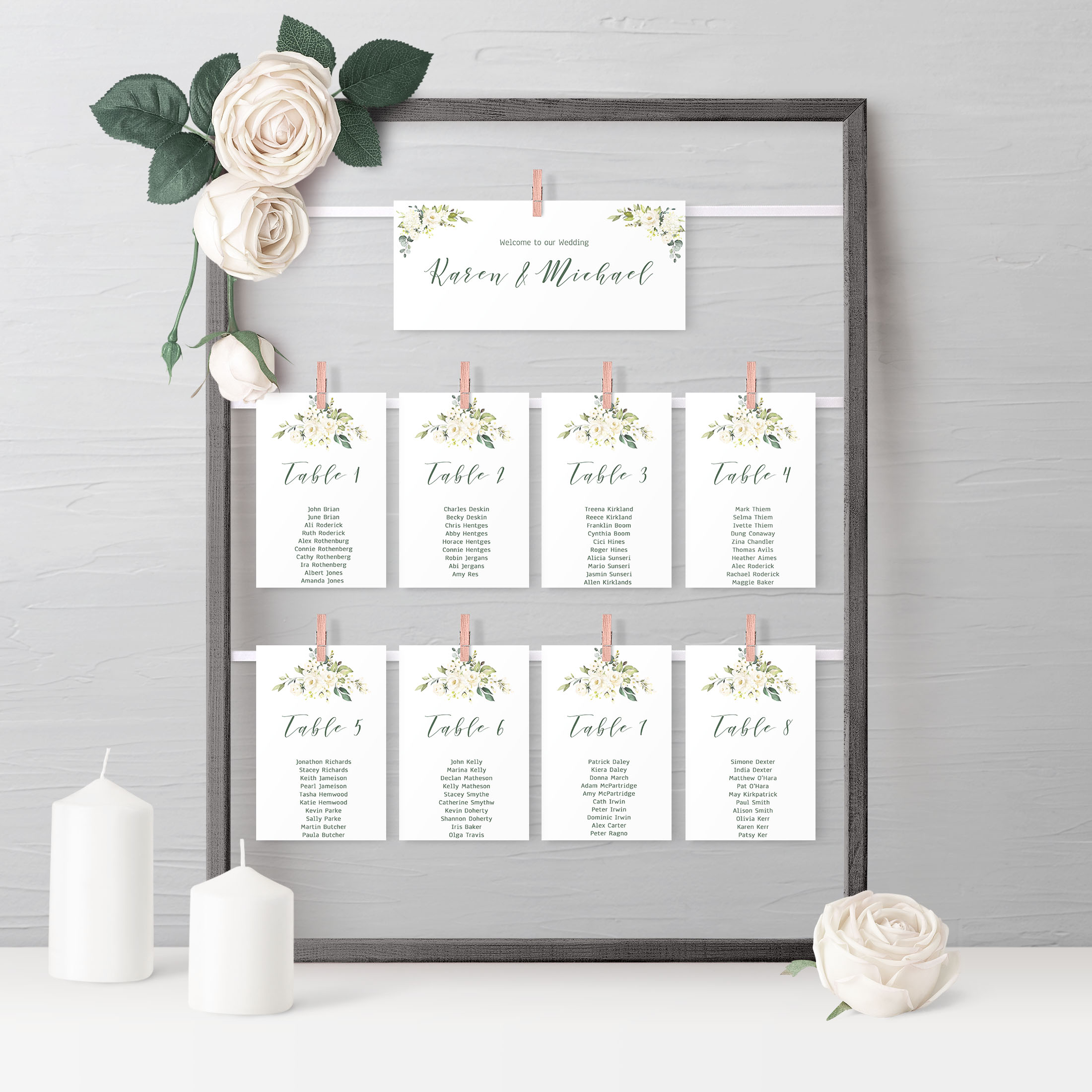 Tara- Foliage Wedding Invitation Package-Table plan