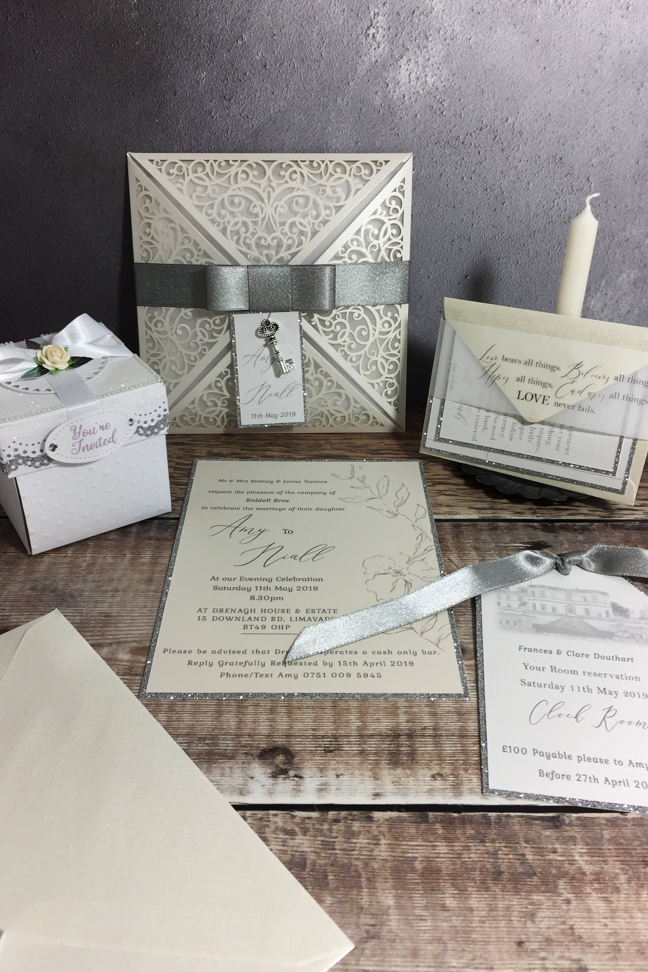 Amy Lace Folder Wedding Invitation