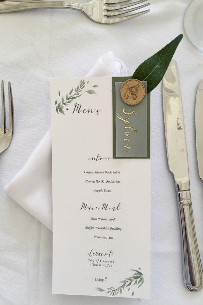 Gold & Foliage Menu