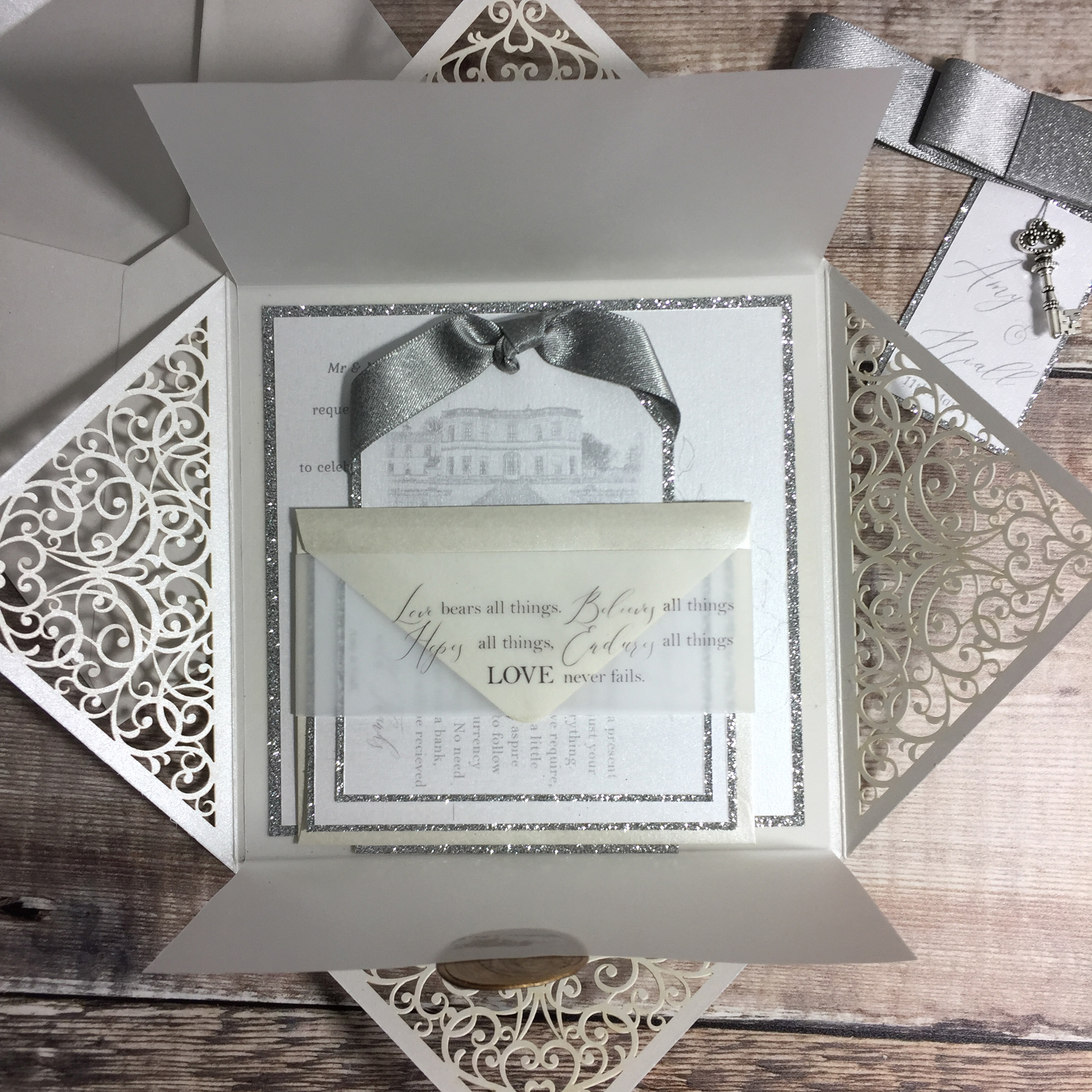 Amy Lace Folder Wedding Invitation