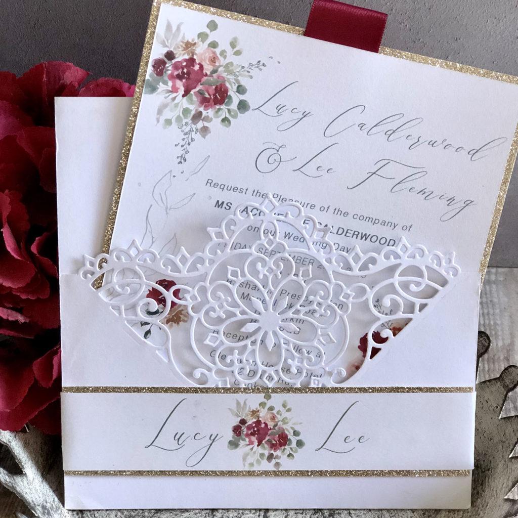 Burgundy blush & champagne gold Wedding Stationery