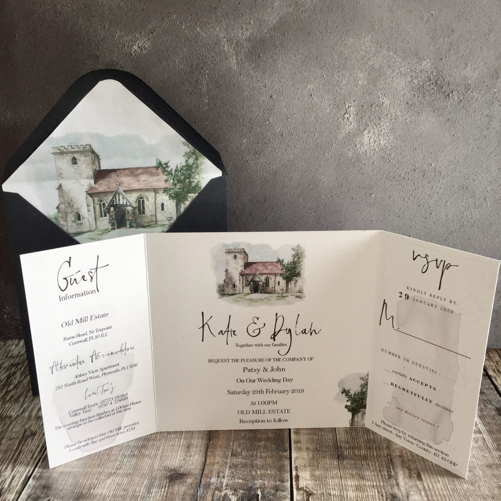 Watercolour Image Wedding Invitation