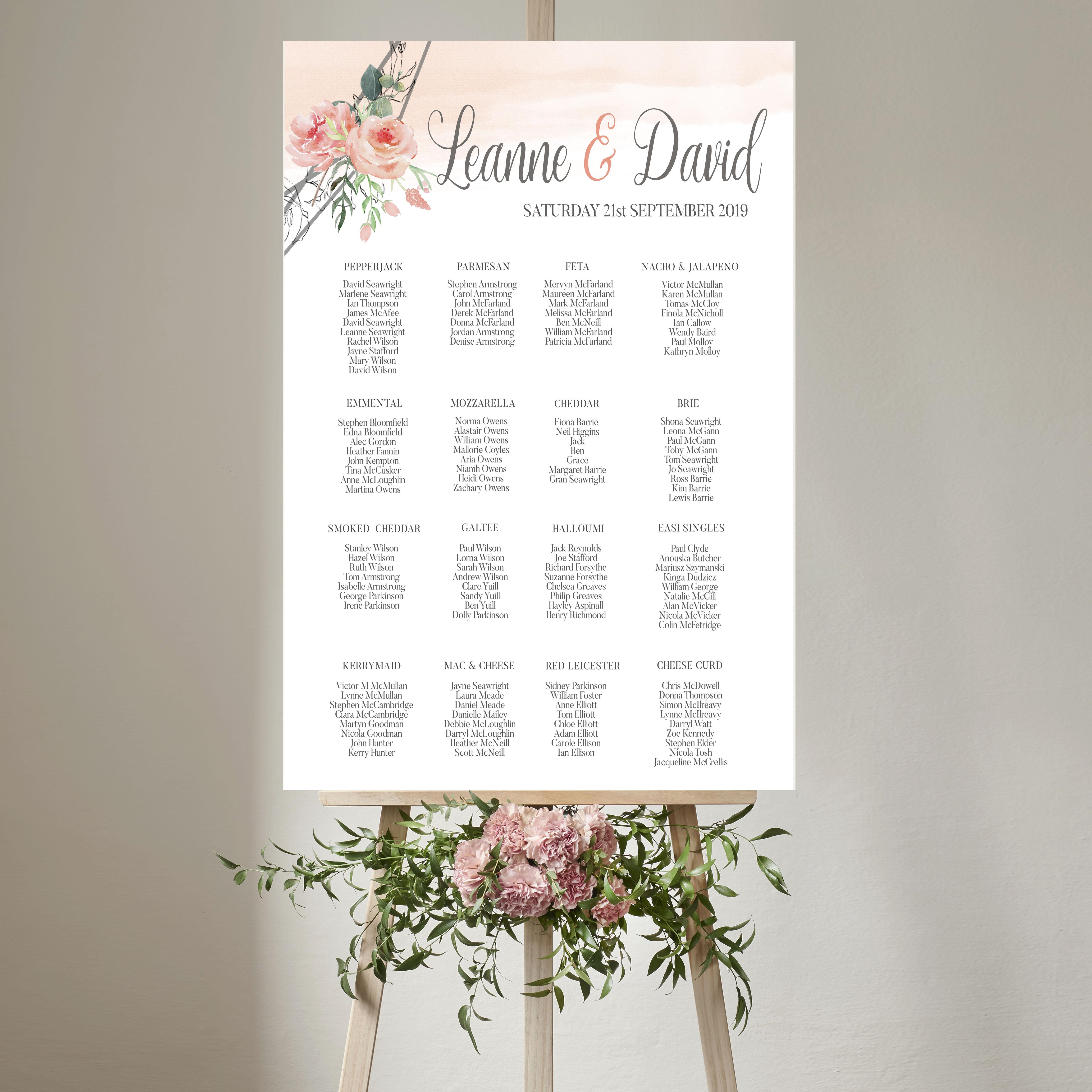 Blush Wedding Table Plan