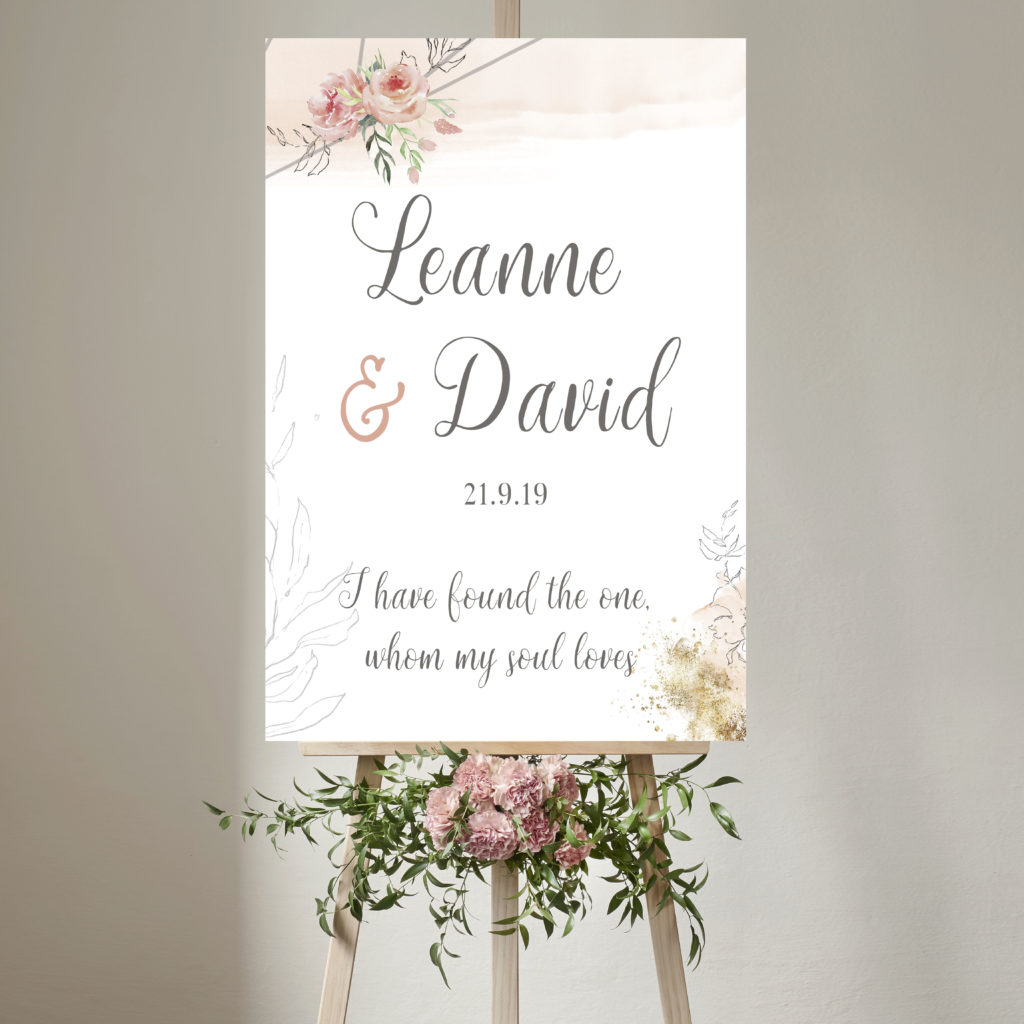 Blush Wedding Welcome Sign