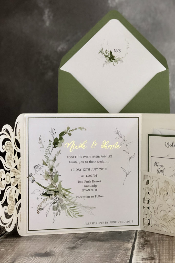 Stunning Foliange Wedding Invitation