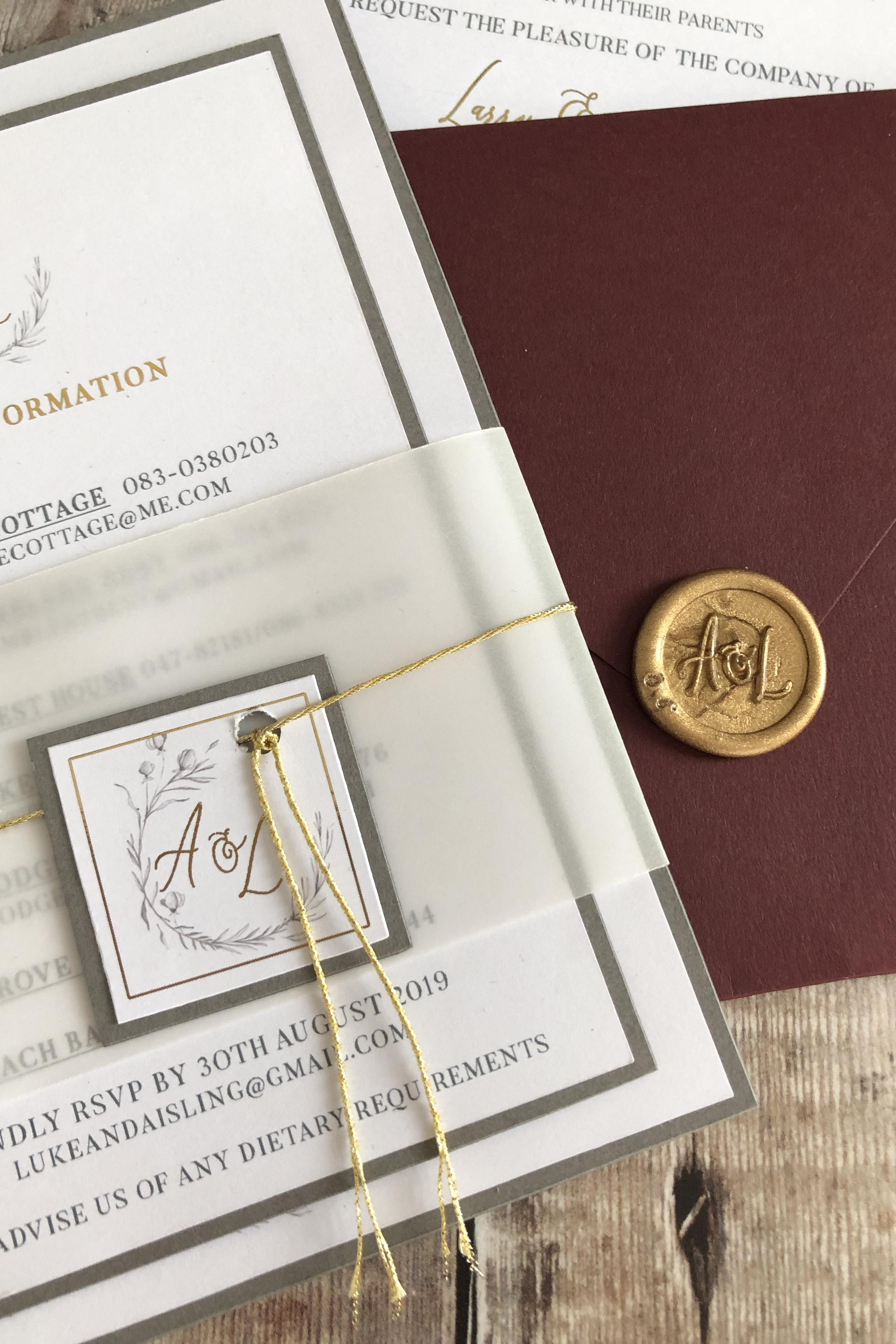 Burgundy Elegant Wedding Invitation