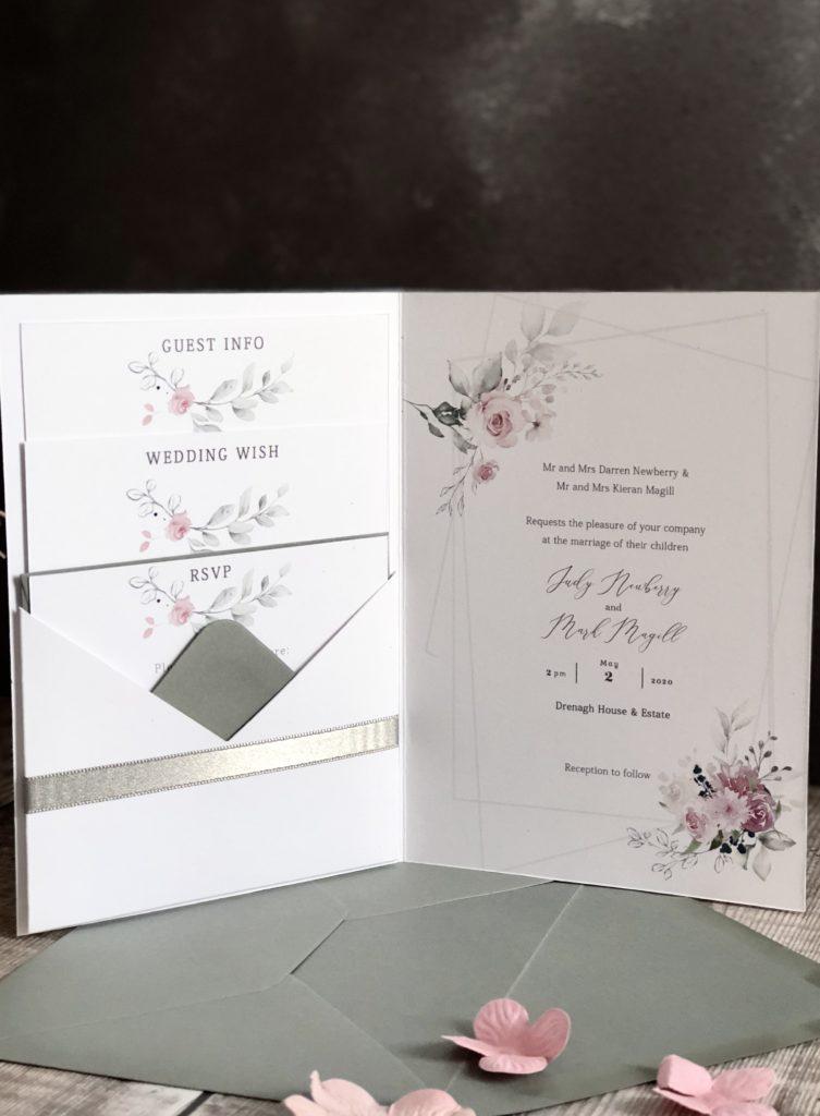 Blush & Grey Floral Wedding Invitation