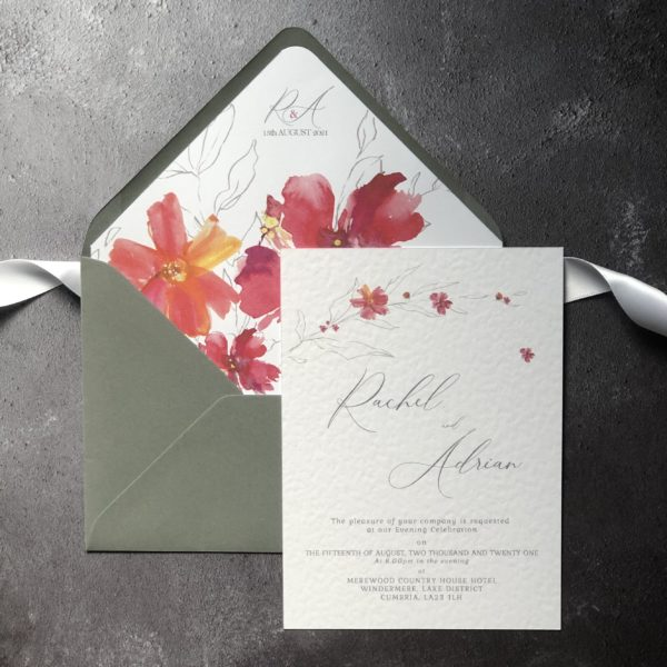 Glorious Flora Evening Guest Wedding Invitation.